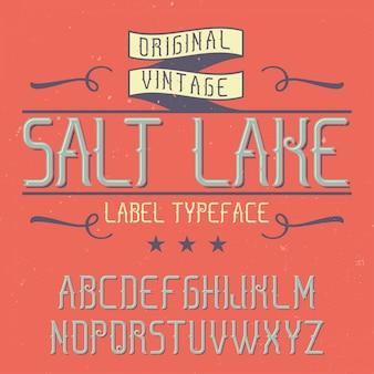 Vintage etikettenschrift namens salt lake. gut für kreative labels geeignet.