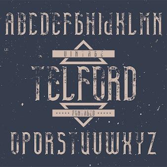 Vintage etikettenschrift namens telford. gut für kreative labels geeignet.