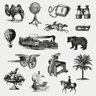 Vintage europäische objekte gesetzt