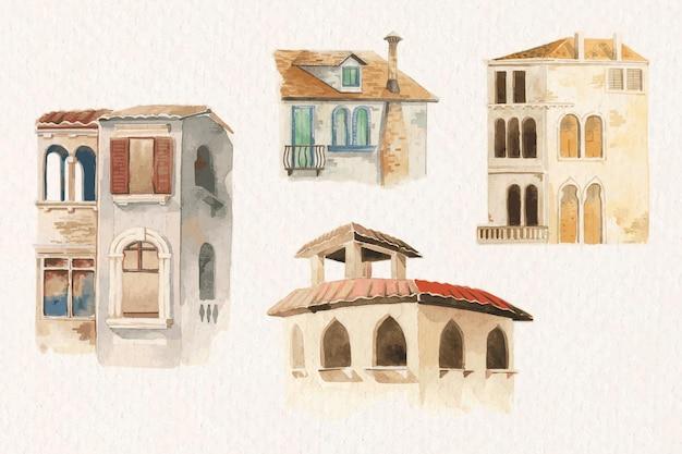 Vintage europäisches architektonisches gebäude-aquarellset