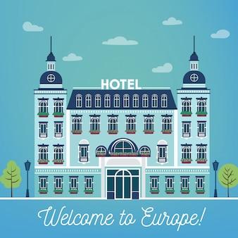 Vintage european city hostel. reiseindustrie-hotel-gebäudefassade