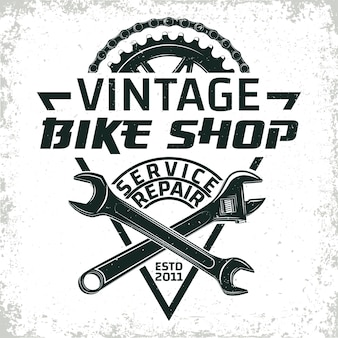 Vintage fahrrad reparaturwerkstatt logo