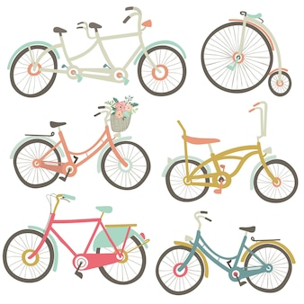 Vintage fahrradkollektion Premium Vektoren