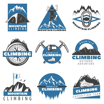 Vintage farbige bergsteiger-etiketten-set