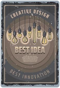Vintage farbige glühbirnenplakat mit inschriften und hängenden fluoreszierenden glühbirnen verschiedener formen