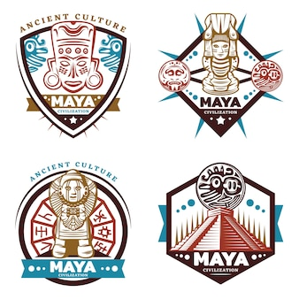 Vintage farbige maya civilization emblems set