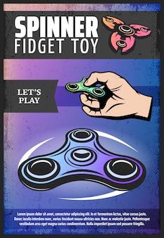 Vintage farbiges modernes spinnerplakat mit der hand, die populäres zappeliges spielzeug der hand dreht und rollt
