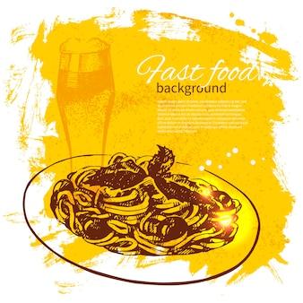 Vintage-fast-food-hintergrund. handgezeichnete abbildung. menügestaltung