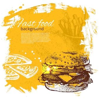 Vintage-fast-food-hintergrund. handgezeichnete abbildung