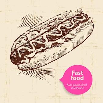 Vintage-fast-food-hintergrund mit farbblase. handgezeichnete abbildung