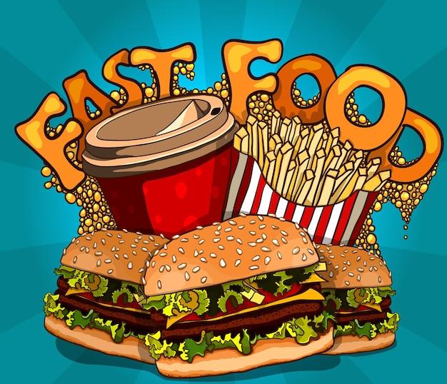 Vintage-fast-food-hintergrund