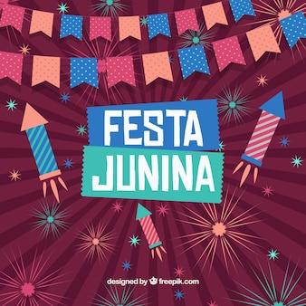 Vintage festa junina mit feuerwerk hintergrund