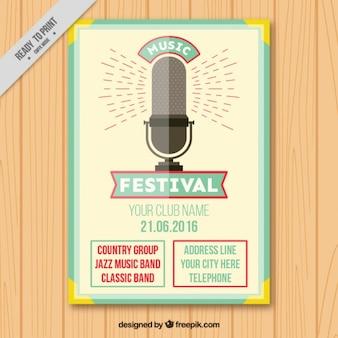 Vintage-festival-plakat mit einem mikrofon