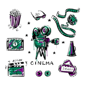 Vintage filmkamera popcorn-rolle mit bandskizze auf einem weißen, isolierten hintergrund set cinema