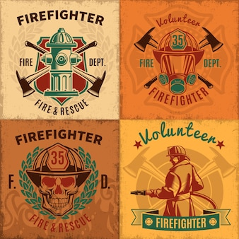 Vintage firefighting emblems set