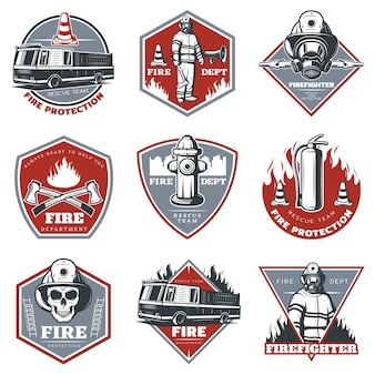 Vintage firefighting logo set