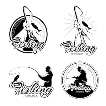 Vintage fischerei vektor logos, embleme, etiketten gesetzt. angeletikett, emblemfischen, angelabzeichen, angelillustration