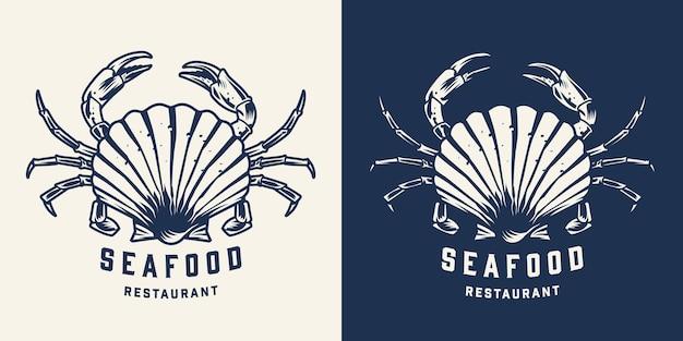 Vintage fischrestaurant logo mit muschel und krabben im monochromen stil isoliert