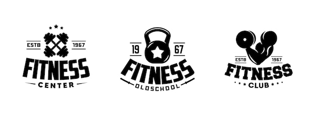 Vintage fitness-studio motivation grafiken, logos und etiketten