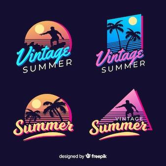 Vintage flache sommer label kollektion Kostenlosen Vektoren