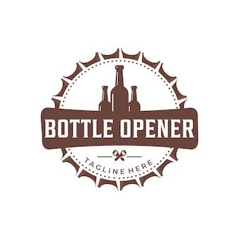 Vintage flaschenöffner logo vektor