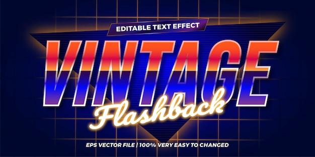 Vintage flashback editable texteffektkonzept retro