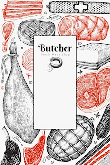 Vintage fleischprodukte design. handgezeichneter schinken, würstchen, schinken, gewürze und kräuter.