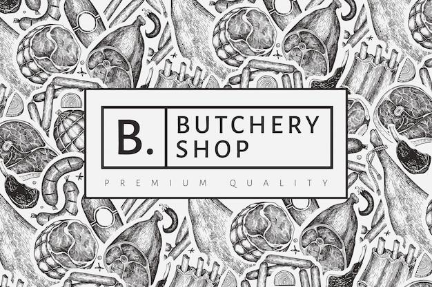 Vintage fleischprodukte design-vorlage. handgezeichneter schinken, würstchen, jamon, gewürze und kräuter. retro illustration. kann für das restaurantmenü verwendet werden.