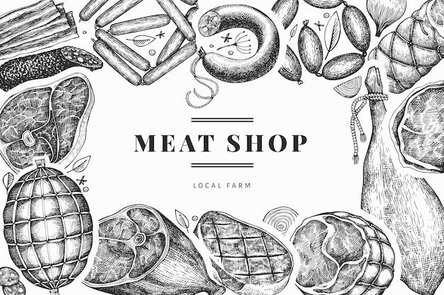 Vintage fleischprodukte design-vorlage. handgezeichneter schinken, würstchen, marmelade, gewürze und kräuter. retro illustration.