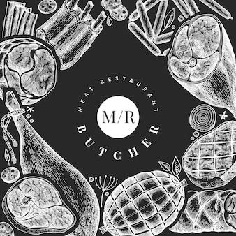 Vintage fleischprodukte design-vorlage. retro-illustration auf kreidetafel.