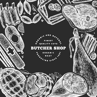 Vintage fleischprodukte design-vorlage.
