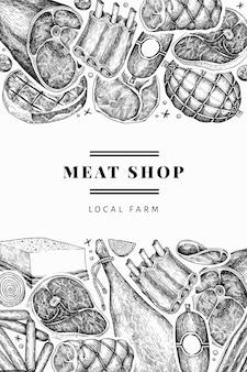 Vintage fleischprodukte vorlage. handgezeichneter schinken, würstchen, marmelade, gewürze und kräuter. retro illustration. kann für restaurantmenü verwendet werden.
