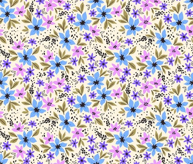 Vintage floral background nahtloses vektormuster mit kleinen lila blüten auf weißem hintergrund