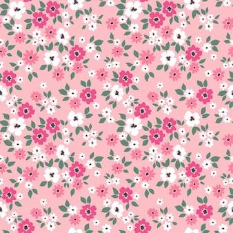 Vintage floral background nahtloses vektormuster mit kleinen rosa blüten auf hellem hintergrund