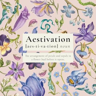 Vintage floral bunte vorlage für social media post, remixed aus kunstwerken von pierre-joseph redouté