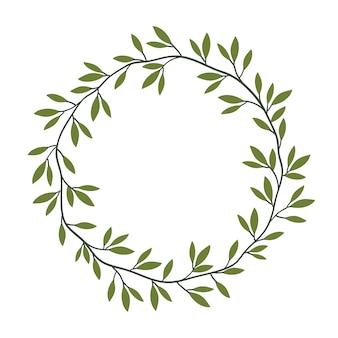 Vintage floral frame mit grünen blättern