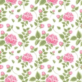 Vintage floral nahtlose muster aus rosa rosenblütenknospen und blattzweigarrangements