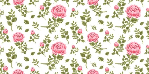 Vintage floral nahtlose muster aus rosa rosenstrauß, blütenknospen und blattzweigarrangements
