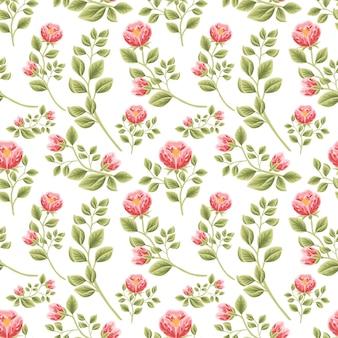 Vintage floral nahtlose muster aus roten pfingstrosen blütenknospen mit blattzweig arrangements Premium Vektoren