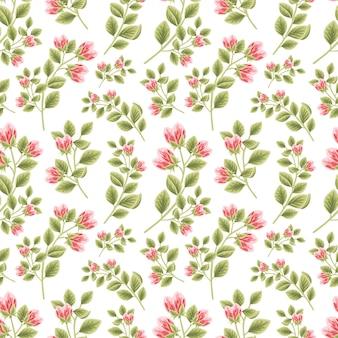 Vintage floral nahtlose muster aus roten pfingstrosen blütenknospen mit blattzweig arrangements