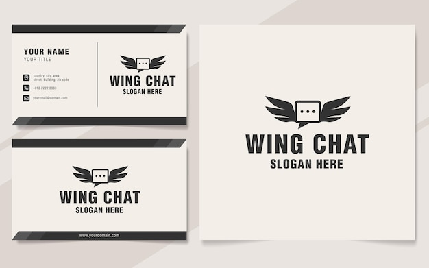 Vintage flügel chat logo vorlage monogramm stil