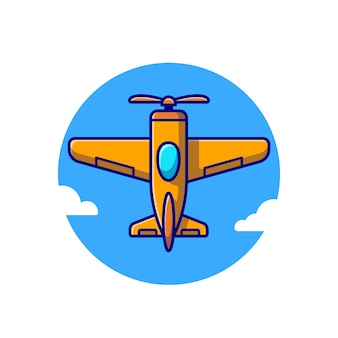 Vintage flugzeug cartoon icon illustration. lufttransport-symbol-konzept