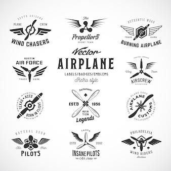 Vintage flugzeug etiketten set mit retro typografie isoliert