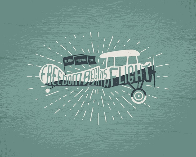 Vintage flugzeugbeschriftung zum drucken. flugzeugplakat der alten schule. retro-flugshow-t-shirt-druckdesign mit motivierendem text und altem effekt. doppeldecker mit sunbursts auf retro-hintergrund.