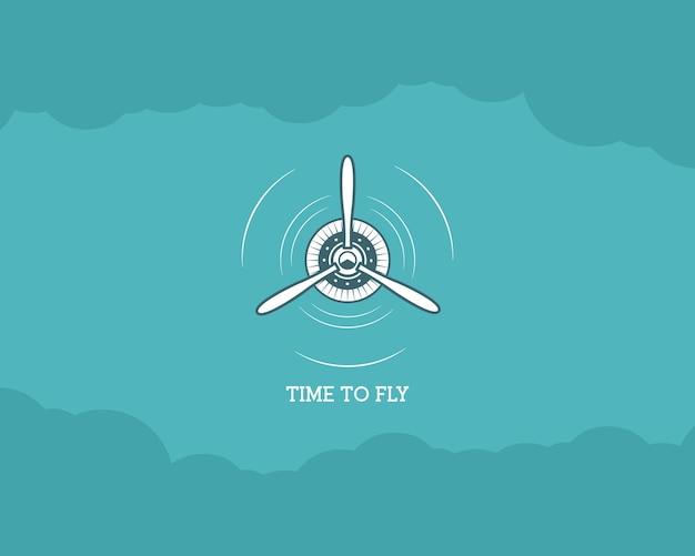 Vintage flugzeughintergrund mit himmel. propeller-emblem. doppeldecker-etikett. retro-flugzeugtapete, designelemente. alte drucke für t-shirt. luftfahrtbroschüre, flyer. reiseinspirationsplakat.