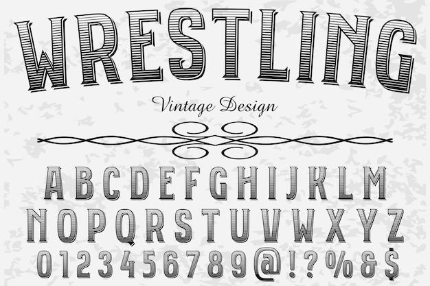 Vintage font handarbeit wrestling