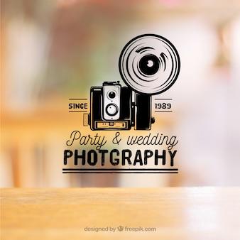 Vintage fotografie logo mit foto hintergrund
