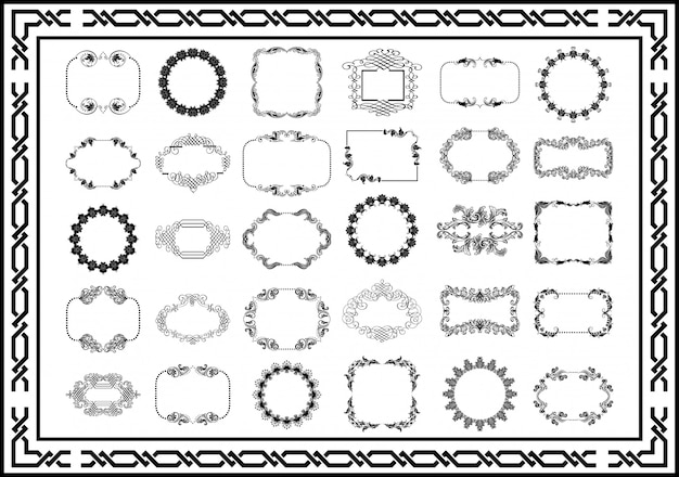 Vintage frames scroll elemente schwarzer farbe