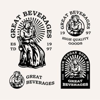 Vintage frau mit einer flasche alkohol oder milch für getränke firmenlogo