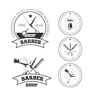 Vintage friseur shop vektor-logo-set.